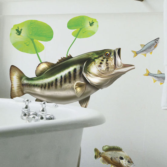 Bold wall art largemouth bass wall decal for Bass fishing decals