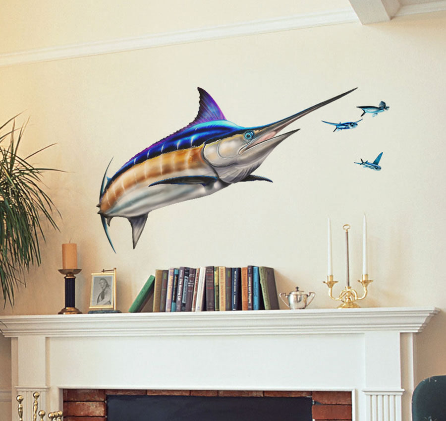 Bold Design Wall Decals : Bold wall art blue marlin decal