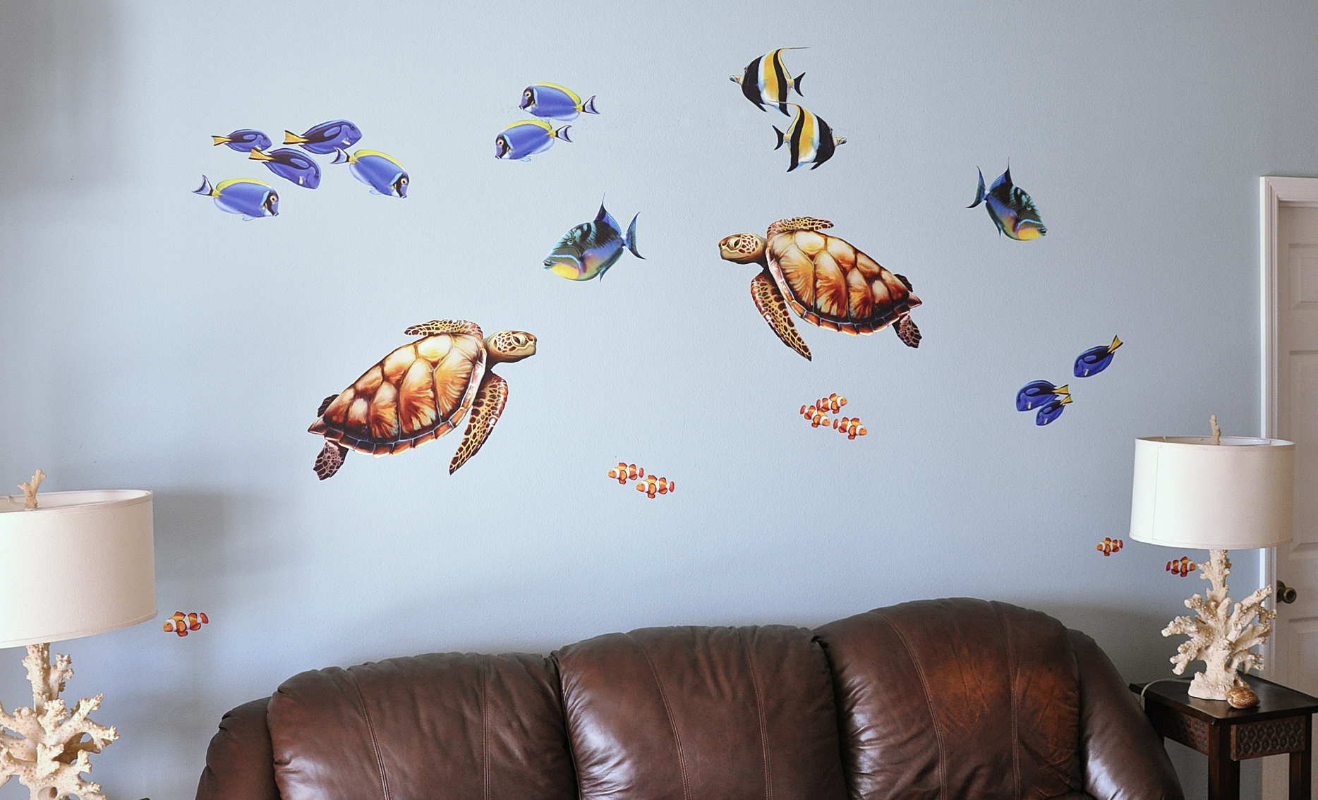 Bold Wall Art   Sea Turtle and Reef Fish Wall Decal set