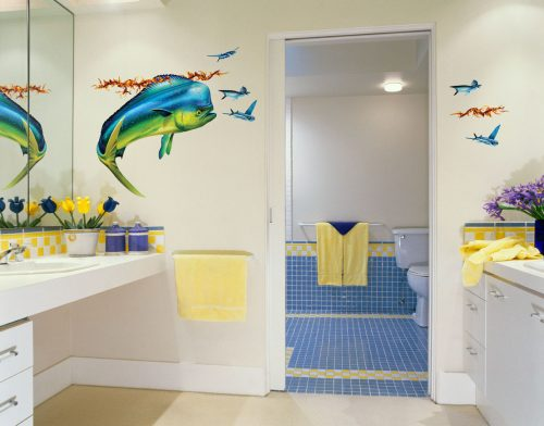 Mahi Mahi Wall Decal in Bathroom