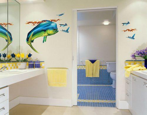 Mahi Mahi Wall Decal in Bathroom