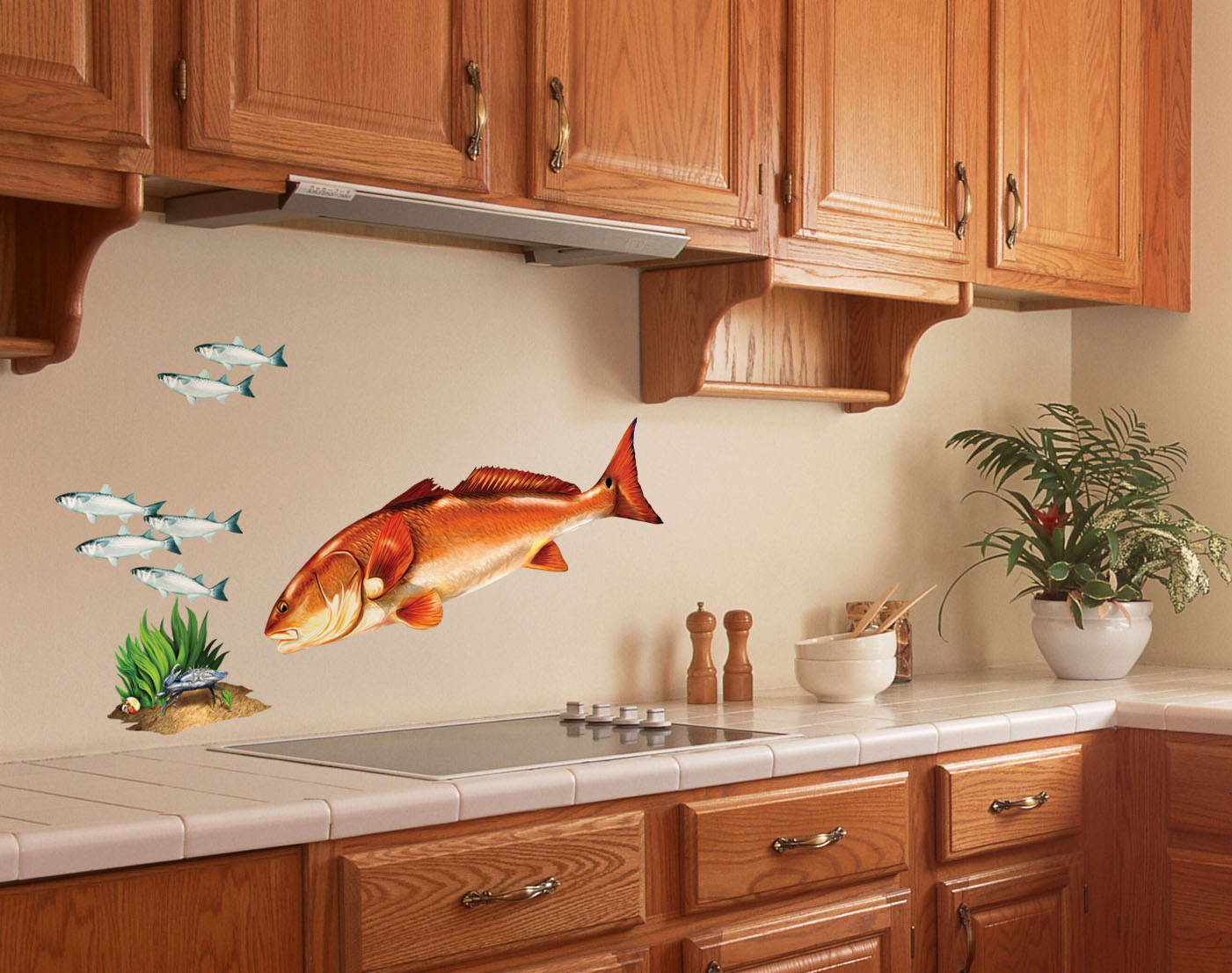 Redfish wall decal red drum bold wall art for Kitchen wall art ideas
