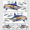 Blue Marlin Wall Decal, Wall Sticker Sets