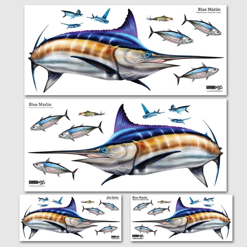 Blue marlin wall decal