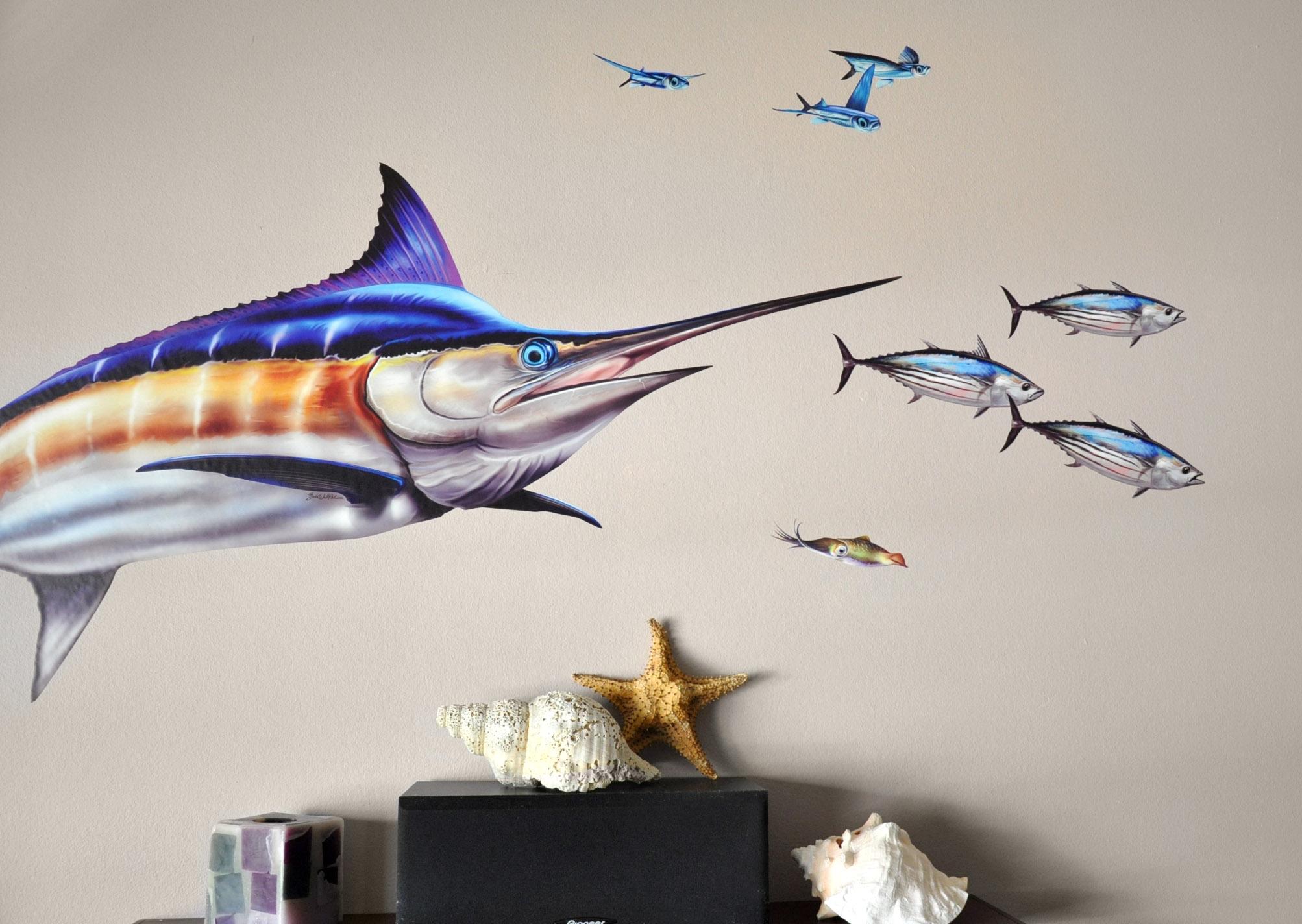blue marlin wall decal bold wall art blue marlin wall decal
