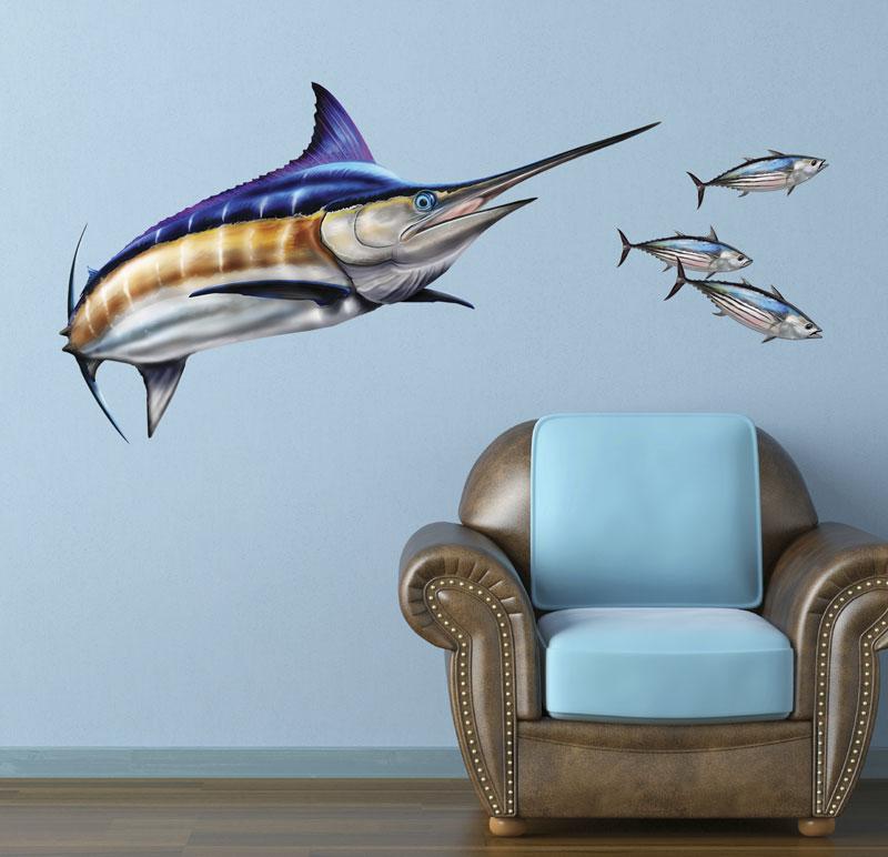 Wall Art Decal blue marlin wall decal - bold wall art