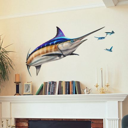 Large Blue Marlin Decal over fireplace