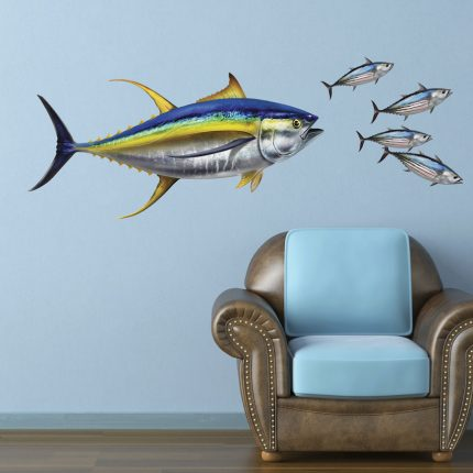 Large Yellowfin Tuna Decal on Wall