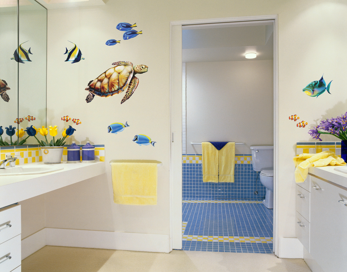 Sea turtle and reef fish wall decal set bold wall art for Sea bathroom set