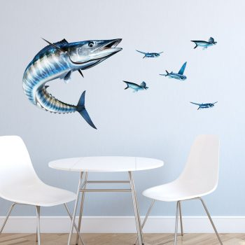 Wahoo Fish Wall Decal with Flying Fish
