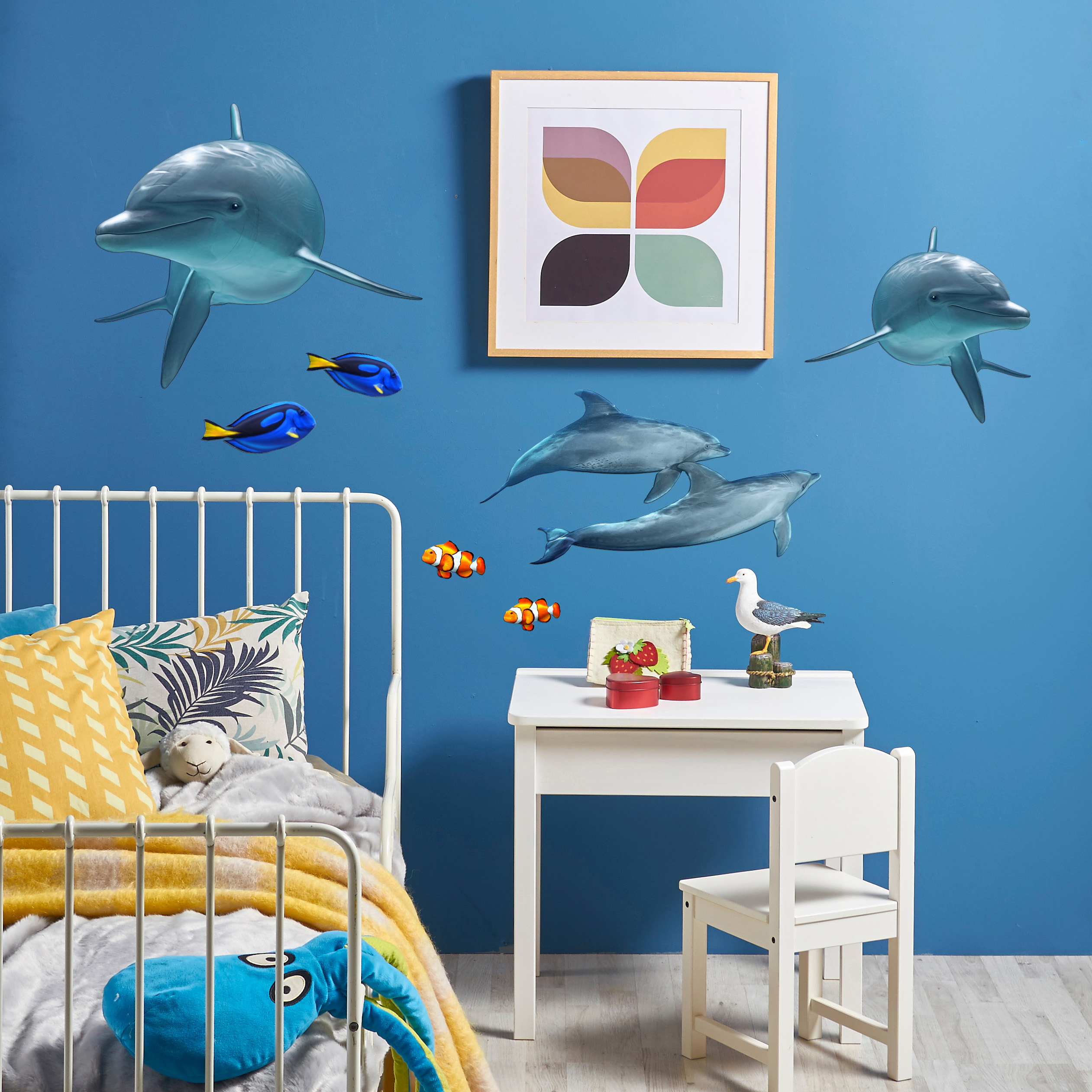 Dolphin Porpoise And Reef Fish Wall Decal Set Bold Wall Art